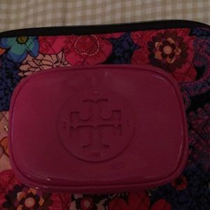 Tory Burch Patent Small Cosmetic Case Hibiscus